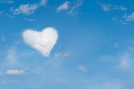 heart shaped cloud, perfect valentines day background photo