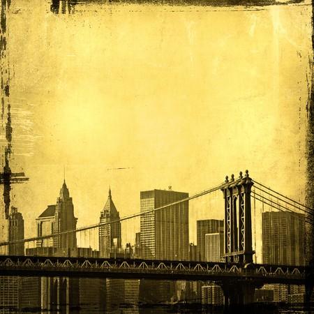 old new york: grunge image of brooklyn bridge and new york skyline  Stock Photo