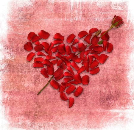 od: grunge background with heart made od rose petals Stock Photo