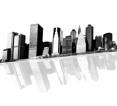 cityscape - silhouettes of skyscrapers over white background Stock Photo - 4266334