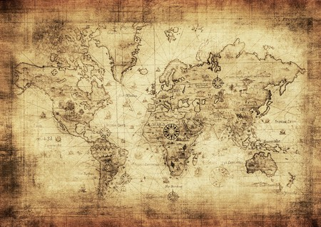 vintage world map: ancient map of the world Stock Photo