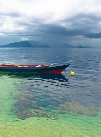 coral bark: Traditional indonesian fishing boat, Banda islands