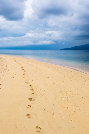 footprints: footprints in a tropical beach Stock Photo