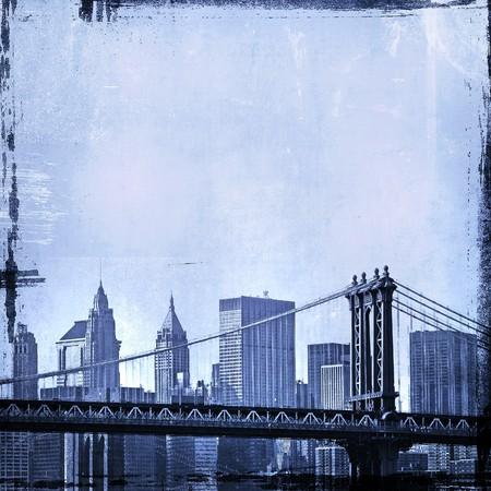 brooklyn bridge: grunge image of brooklyn bridge and new york skyline  Stock Photo