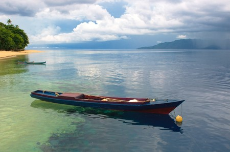 coral bark: Traditional indonesian fishing boat, Banda islands