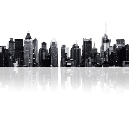 cityscape - silhouettes of skyscrapers over white background photo