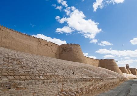 ufortyfikować: Ściany starożytnego miasta Khiva, Uzbekistan Zdjęcie Seryjne