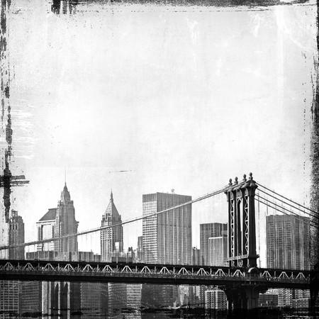 old new: grunge image of brooklyn bridge and new york skyline  Stock Photo