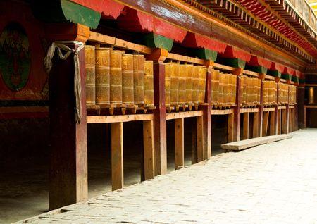 tibetan prayer wheels in songzanlin tibetan monastery, shangri-la, china photo