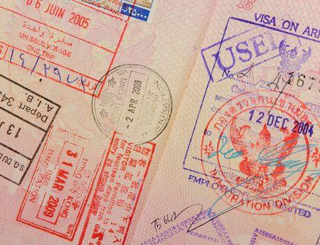 passport with thai and hongkong stamps photo