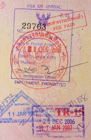 passport with thai visa and stamps photo