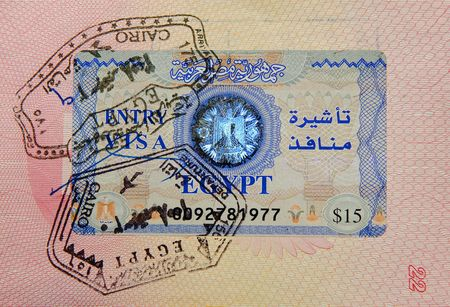 passport with egyptian visa and stamps photo