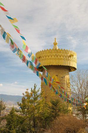 the biggest tibetan prayer wheel in the world, shangri-la, china photo