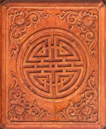wood carving door: chinese ornaments Stock Photo