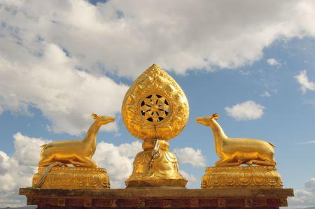 yunnan: architectural details of songzanlin tibetan monastery, shangri-la, china Stock Photo