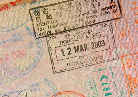passport with hong kong stamps photo