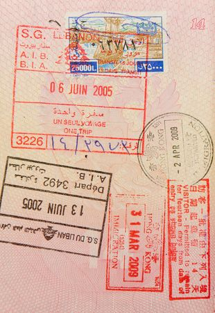 passport with lebanese and hongkong stamps photo