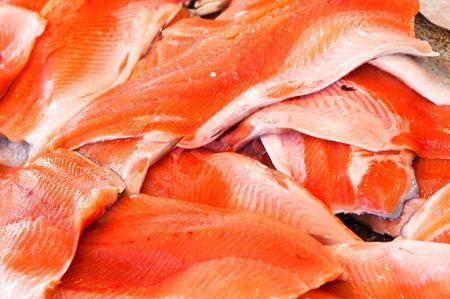 Filet of salmon at fishmarket photo