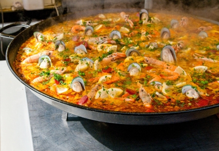 seafood platter: closeup of paella Stock Photo
