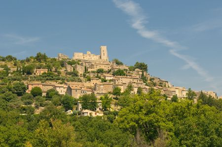Provencal village of Lacoste with castle of Marquis de Sade on top of the hill Stock Photo - 5367406