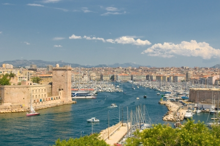 Panoramic view of Marseille and old port photo