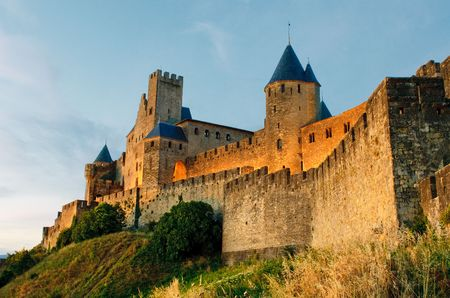 Medieval town of Carcassonne at sunset Stock Photo