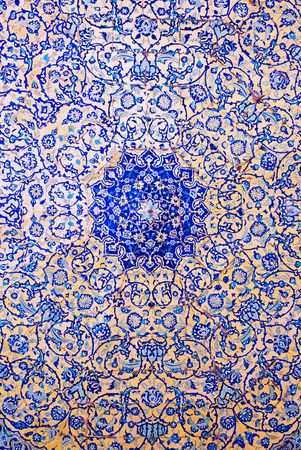 the blue domes: Dome of the mosque, oriental ornaments from Isfahan, Iran Stock Photo