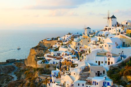 Oia village at Santorini island, Greece photo