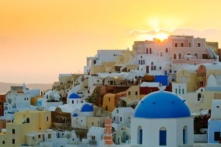 santorini: Oia village at sunset, Santorini island, Greece