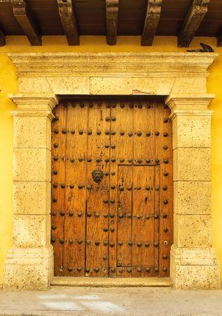 Doors of colonial building in Cartagena, Colombia photo