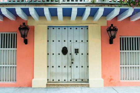 Doors of colonial building in Cartagena, Colombia photo