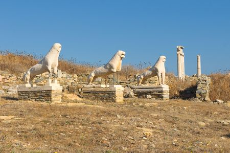 The Terrace of the Lions, Delos island, Greece photo