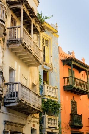 casa colonial: Calles de Cartagena, Colombia Foto de archivo