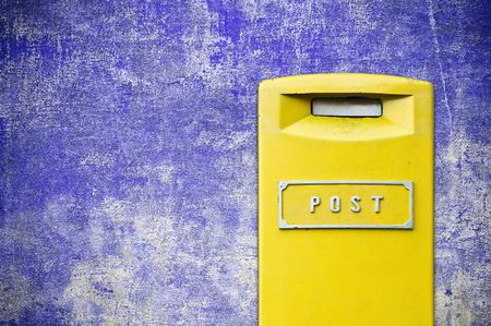 yellow mail-box over grunge background Stock Photo - 6402826