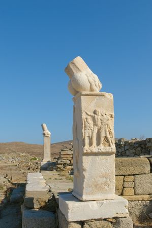 phallus: Ruins of Dionysos temple, Delos, Greece