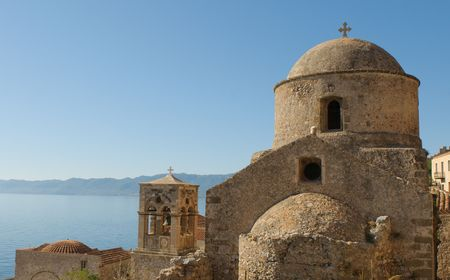 walled: Medieval walled town of Monemvasia, Greece Stock Photo