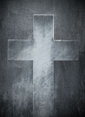 grunge cross: stone cross Stock Photo