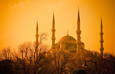 constantinople ancient: Blue Mosque at sunset, Istambul