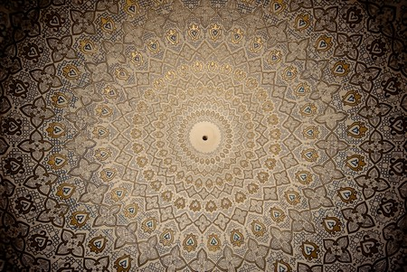 Dome of the mosque, oriental ornaments from Samarkand, Uzbekistan photo