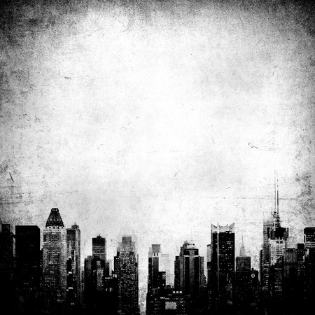 old new york: grunge image of new york skyline