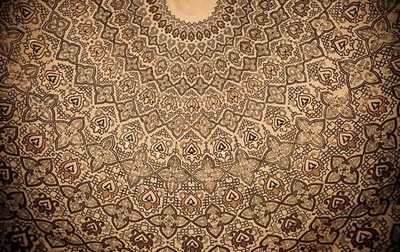 majolica: Dome of the mosque, oriental ornaments from Samarkand, Uzbekistan