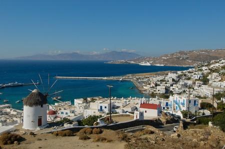 whitewash: Panorama of Mykonos, Greece Stock Photo