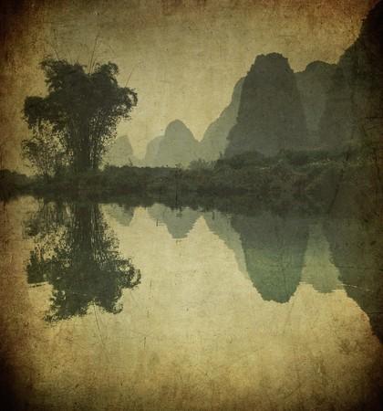 Grunge image of Yulong river, Guangxi province, China photo