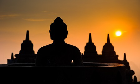 indonesia people: Borobudur temple at sunrise, Java, Indonesia