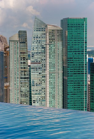 infinity swimming pool and skyline with skyscapers photo