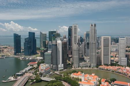 jachthaven: Panorama van Singapore  Stockfoto