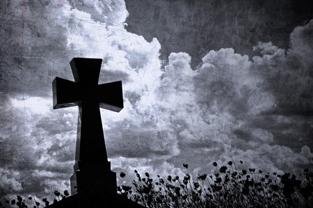 Grunge image of a cross in the cemetery, perfect halloween background Stock Photo - 7970793