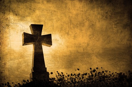 Grunge image of a cross in the cemetery, perfect halloween background Stock Photo - 8073605