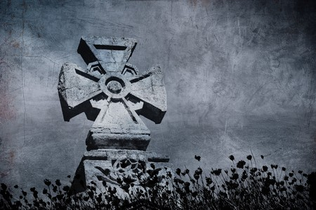 Grunge image of a cross in the cemetery, perfect halloween background Stock Photo - 8073598
