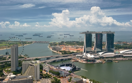 marina life: Panorama of Singapore Stock Photo
